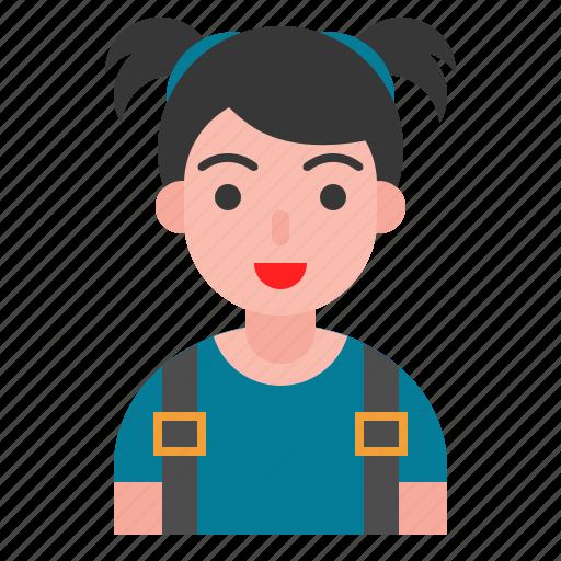 avatar, girl, kid, school bag, smile, student icon