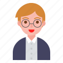 avatar, boy, glasses, student, uniform icon