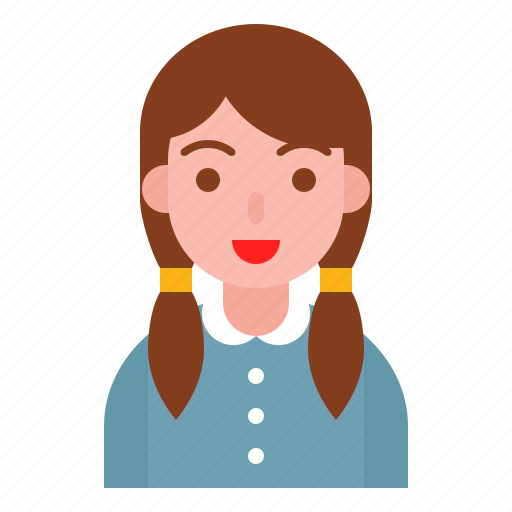 avatar, cute, girl, smile, student icon