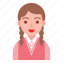avatar, cute, girl, student, vest, winter icon