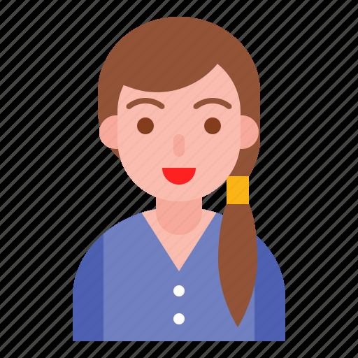 avatar, girl, person, profile, student icon