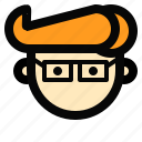 boy, flat icon, face, person, avatar, man, glasses