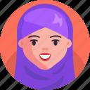 woman, muslim, avatar, girl, female, face icon