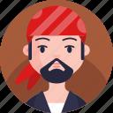 boy, avatar, man, pirate, profile, face icon
