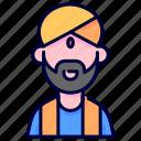 avatar, hindu, indian, man, turban, user icon