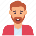 bearded man, hipster, male avatar, male person, young man icon