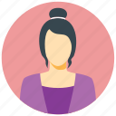 avatar, circle, female, human, person, user, woman