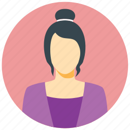 avatar, circle, female, human, person, user, woman icon