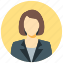 circle, avatar, human, female, woman, user, business woman