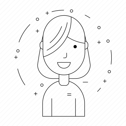 alumna, forelock, graduate, person, schoolgirl, smiling avatar, student icon