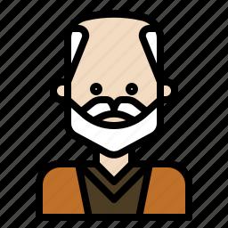 aging, beard, glabrous, mustache, oldman icon