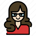 avatar, business, glasses, secretary, woman, working icon