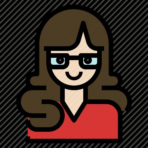 avatar, business, glasses, secretary, woman, working icon