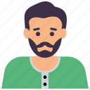 bearded man, hipster, male avatar, male person, young man