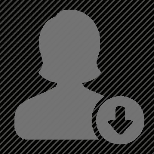 account, arrow, avatar, demote, down, profile, user icon