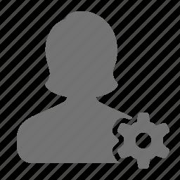 account, avatar, cog, profile, settings, user, woman icon
