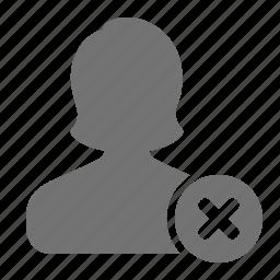 avatar, cancel, error, profile, remove, user, woman icon