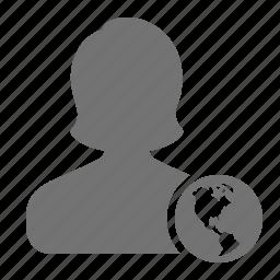 avatar, earth, globe, profile, user, woman, world icon