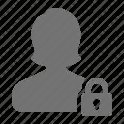 account, block, lock, profile, security, user, woman icon