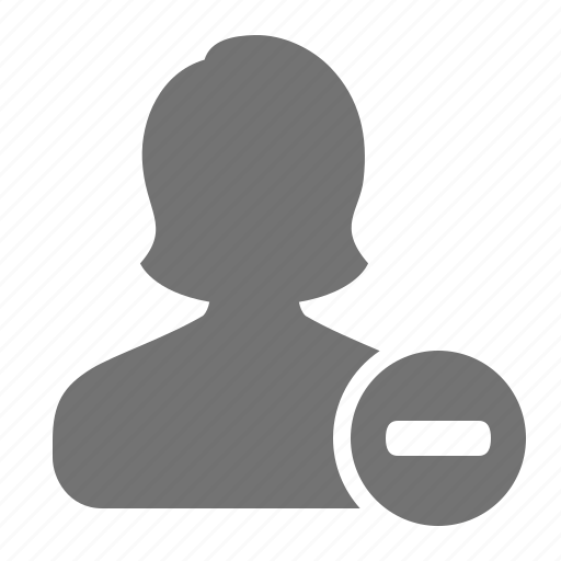 account, avatar, minus, profile, remove, user, woman icon