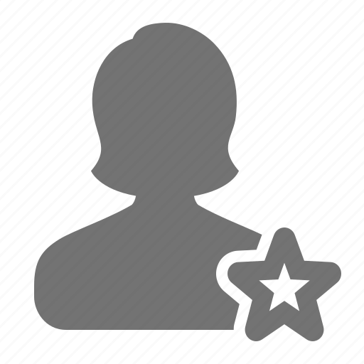 account, avatar, bookmark, profile, star, user, woman icon