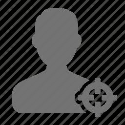 aim, avatar, cross hair, man, profile, target, user icon