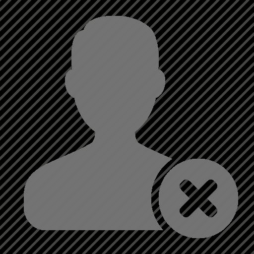 account, avatar, cancel, man, profile, remove, user icon