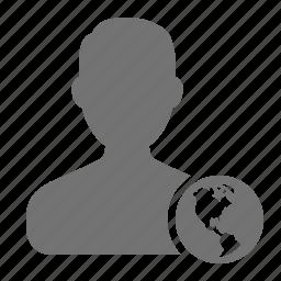 avatar, earth, globe, man, profile, user, world icon
