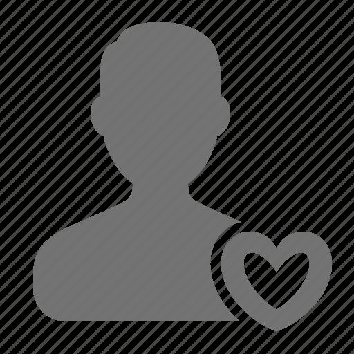 avatar, heart, love, man, match, profile, user icon