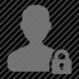 account, avatar, block, lock, man, security, user icon