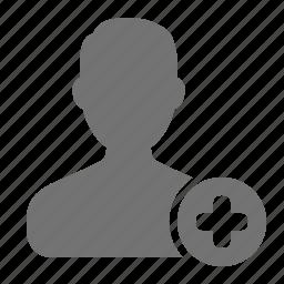 account, add, avatar, man, plus, profile, user icon