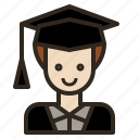 avatar, graduate, man, university icon
