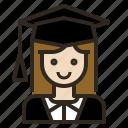 avatar, graduate, gril, woman icon