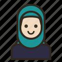 avatar, face, hijab, muslim, woman icon