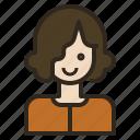 curl, hair, short, stylist, woman icon