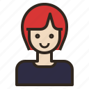 avatar, girl, hair, short, woman icon