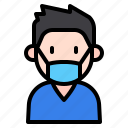 kid, avatar, boy, people, medical, mask, child