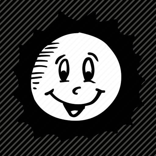 cartun, emotion, face, hot, smiley, summer, sun icon