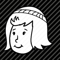 avatar, face, female, girl, human, profile, woman icon