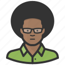 african american, afro, avatar, black man, glasses, man icon
