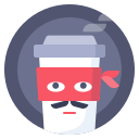 avatar, coffee, cup, zorro icon