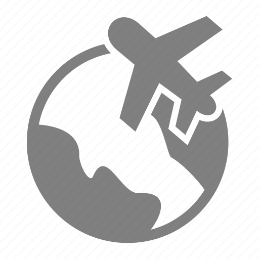 airport, aviation, earth, plane, travelling icon