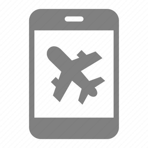 airport, aviation, plane, smartphone icon