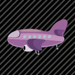 aircraft, airplane, blog, cartoon, plane, purple, travel icon