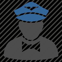 flight attendant, flunky, service, staff, steward, uniform, waiter icon