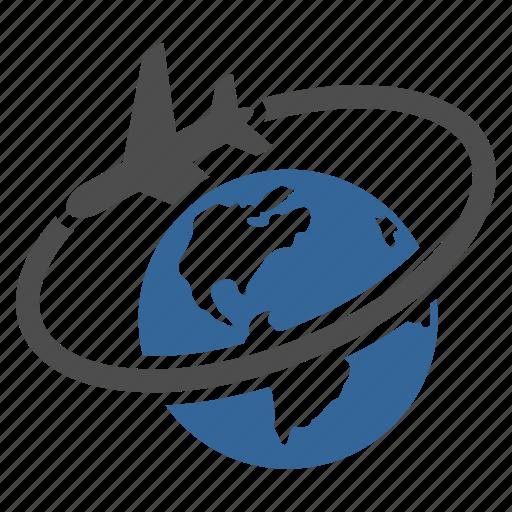 airplane, earth, flight, globe, plane, travel, world icon