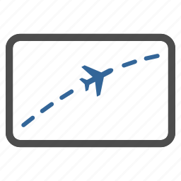 course, direction, flight route, navigation, path, travel, way icon