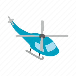 air, flight, helicopter, isometric, sky, transport, travel icon