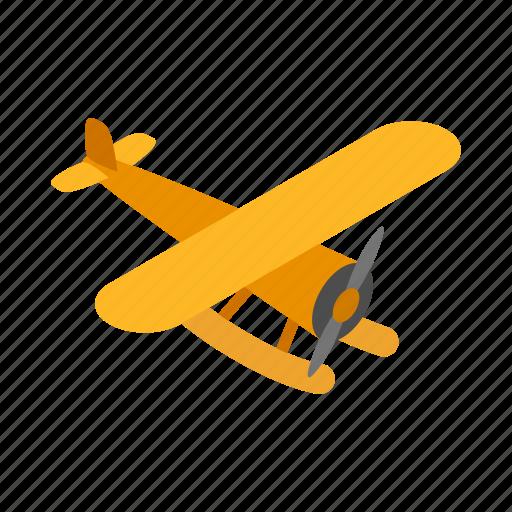 air, fly, isometric, orange, plane, sky, travel icon