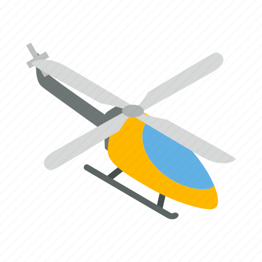 air, flight, helicopter, isometric, orange, transport icon